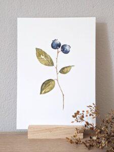 ansichtkaart blauwe bes aquarel