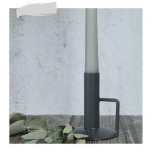 Kandelaar grijs metaal met kaars