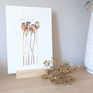 ansichtkaart papaver zaaddoosjes aquarel